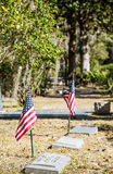American Flags in Old Graveyard Royalty Free Stock Photography