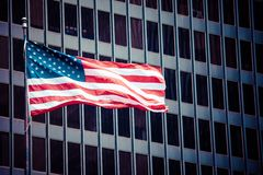 American flags outside a building Royalty Free Stock Image