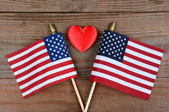 American Flags and Red Heart Stock Photos