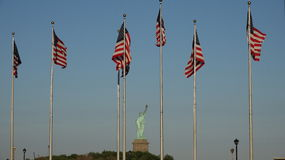 American Flags And Statue Of Liberty Royalty Free Stock Photo