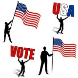 American Flags Vote USA Silhouettes. A clip art illustration featuring an assortment of  silhouettes and us themes - flag, usa, and vote Stock Images