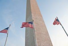 American flags at Washington Monument Royalty Free Stock Photos