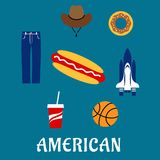 American flat symbols and icons Royalty Free Stock Photos