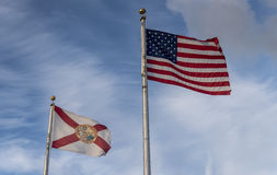 The American and Florida State flag Stock Photography