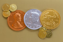 American Foil Chocolate Coins Stock Photography