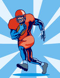 American fooball running back. Illustration on amercian footballer running with ball vector illustration