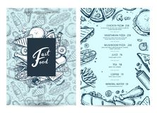 American food and drink menu design with prices. Fast foodtemplate with hand drawn pizza, hot dog, chicken, drink pencil doodles. Cafe price catalog, junk food Stock Photo