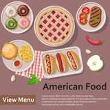 American food. Flat Lay Style Illustration. Stock Photo