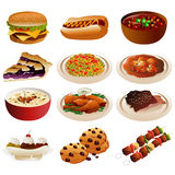American food icons. A vector illustration of American food icons Stock Photos