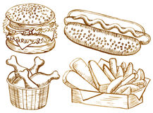 American food set Stock Images