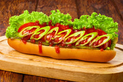 American food - spicy hot dog with chili Stock Image