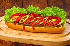 American food - spicy hot dog with chili Royalty Free Stock Photography