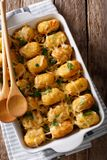 American Food: Tater Tots with cheese, meat, corn and parsley cl. Ose-up in a baking dish on the table. Vertical top view from above Stock Image