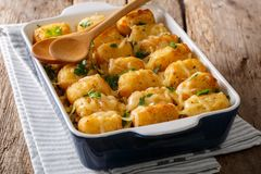 American Food: Tater Tots with cheese, meat, corn and parsley cl. Ose-up in a baking dish on the table. horizontal Stock Photos
