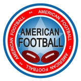 American Football. An illustrated badge in colors of the United states of America symbolizing American Football Royalty Free Stock Photography