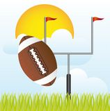 American football. With goal post vector illustration. landscape Royalty Free Stock Photo
