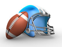 American football. Helmet and ball. 3d render illustration Stock Images