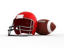 American football. Helmet and ball. Isolated Stock Image