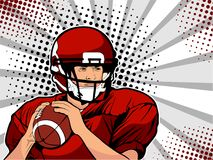 American football athlete. Vector illustration in pop art retro comic style. American football athlete. Sports game. The American football championship Royalty Free Stock Image