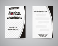 American football back and front flyer template Royalty Free Stock Photo