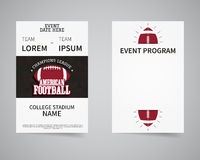 American football back and front flyer template Royalty Free Stock Images