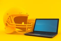 American football background with laptop. In orange color Royalty Free Stock Photography