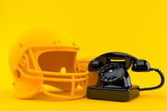 American football background with telephone. In orange color. 3d illustration Stock Photos