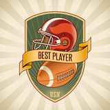 American football badge. With a helmet and a leather ball placed on a shield. Editable vector illustration Royalty Free Stock Images