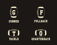 American football badge monograms with players Stock Photo