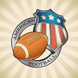 American football badge. With a star striped shield and a leather ball. Editable vector illustration Royalty Free Stock Photos