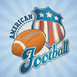 American football badge. With a star striped shield and a leather ball. Editable vector illustration Stock Image