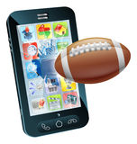 American football ball cell phone. Illustration of an American football ball flying out of cell phone screen Royalty Free Stock Image