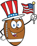 American Football Ball Character With Patriotic Hat And USA Flag Royalty Free Stock Photos