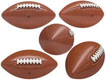 American football ball collection. Collection of american football ball isolated on white 3d rendering image Stock Images