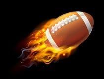 American Football Ball on Fire Stock Image