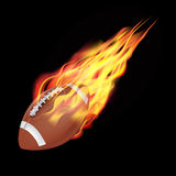American football ball in fire. Flying down.  on dark background. Vector illustration Royalty Free Stock Image