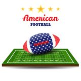 American football ball with flag on field. Rugby background. Vector illustration Royalty Free Stock Photos