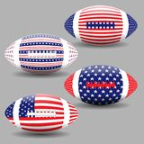 American football ball with flag of USA isolated. Rugby ball icons, logo Stock Photography