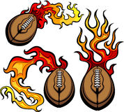 American Football Ball Flaming. Flaming American Football Ball burning with Fire Flames Stock Photos