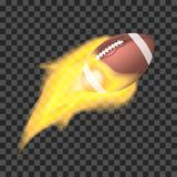 American football ball flaming on a transparent background. Object with fire. American football ball flaming on a transparent background. Vector object with fire Royalty Free Stock Images