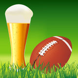 American football ball on grass  American football background il Stock Image