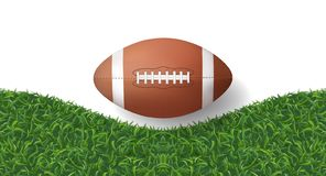 American football ball with green grass texture background. Vector. American football ball with green grass texture background. Vector illustration stock illustration