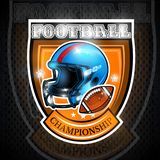 American football ball with helmet in center of shield. Sport logo for any team. Or competition royalty free illustration
