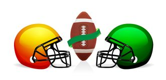 American football ball and helmet vector Stock Image