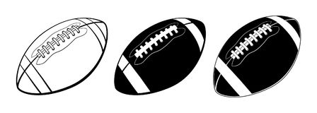 American football ball isolated on white background. Vector illustration Stock Images