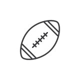 American football ball line icon, outline vector sign, linear style pictogram isolated on white. Symbol, logo illustration. Editable stroke. Pixel perfect stock illustration