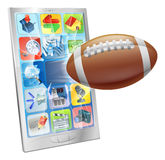American football ball mobile phone Royalty Free Stock Image