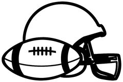 American football ball and protective helmet black royalty free stock photos