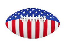 American Football Ball with USA Flag Isolated Royalty Free Stock Photo