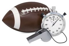 American football ball with whistle and stopwatch, 3D rendering. Isolated on white background stock illustration